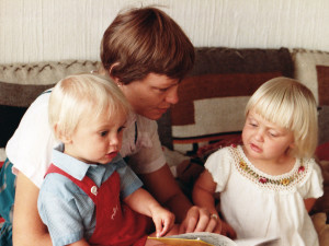 """As it happened, neither of my children turned out to be stick insects."" [With my children, 1983]"