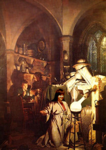 As you can see, Patricia has transformed the worried male alchemist in my last blog's image of  The Alchemist in Search of the Philosophers' Stone, by Joseph Wright of Derby (1734-1797), into a radiant woman.