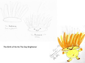 The birth of HeHe. A sea anemone from Belinda's dream morphed into HeHe, The Day Brightener.